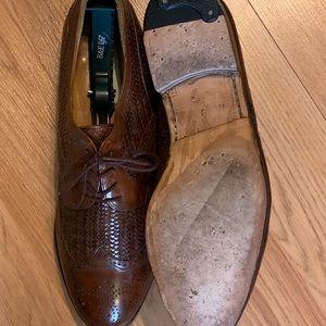 Brown woven Mezlan shoes